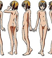 TAGS: ass, back, blonde hair, blush, boku no pico, censored, character sheet, feet, green eyes, horizontal, leaning forward, lowres, nipples, nude, pe